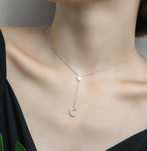 collier lune argent femme
