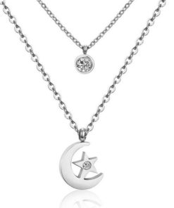 Collier lune argente