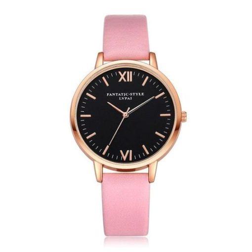Montre cadran noire bracelet rose