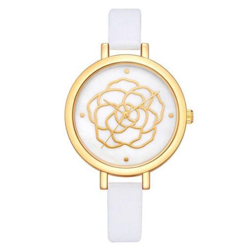 montre fleur blanche