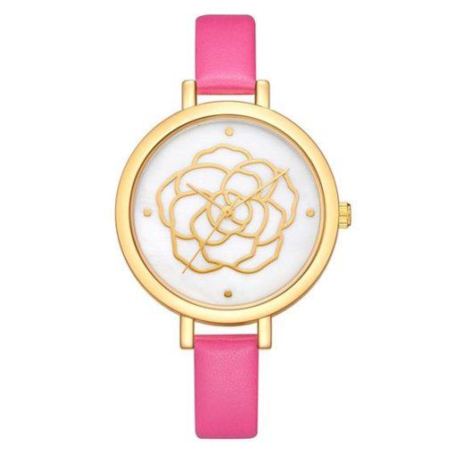 montre fleur bracelet rose