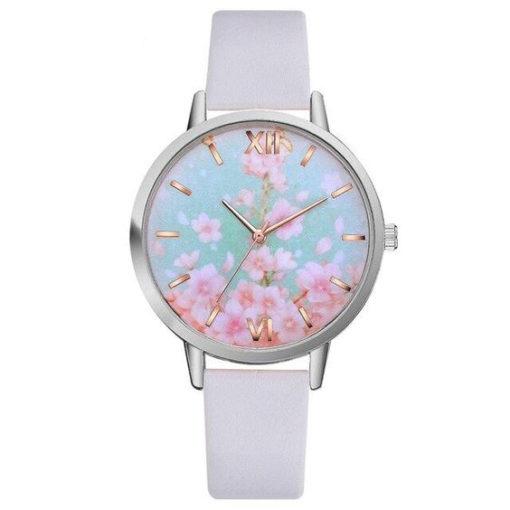 montre fleurs blanche