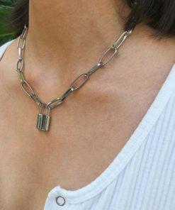 collier cadenas argente