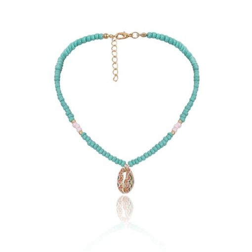 choker coquillage turquoise