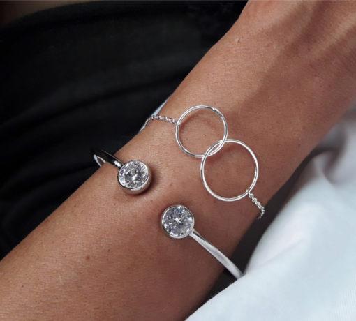 bracelet anneaux entrelaces argent