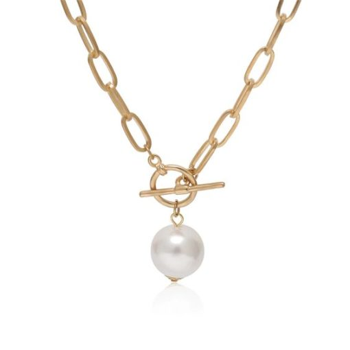 collier chaine gourmette perle