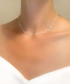 collier chaine perlee
