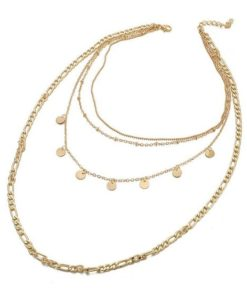 collier chaines dore