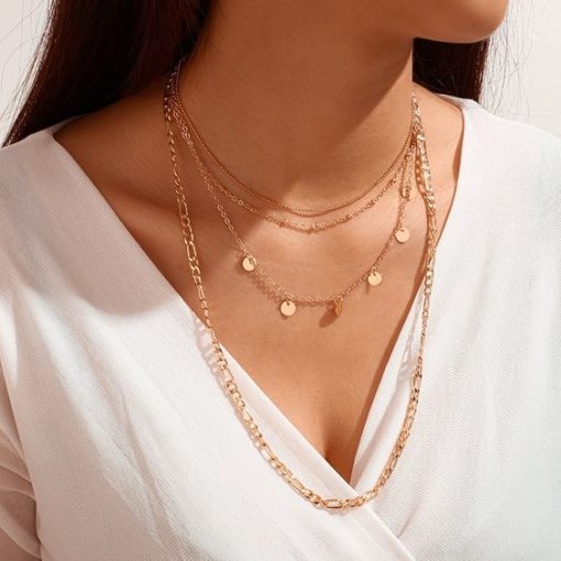 collier chaines dore femme