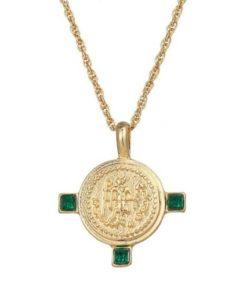 collier dore medaille pendentif