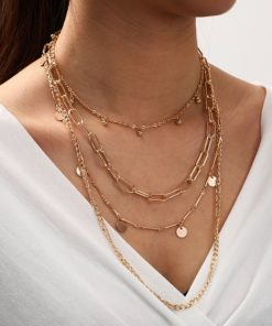 collier multirangs dore tendance