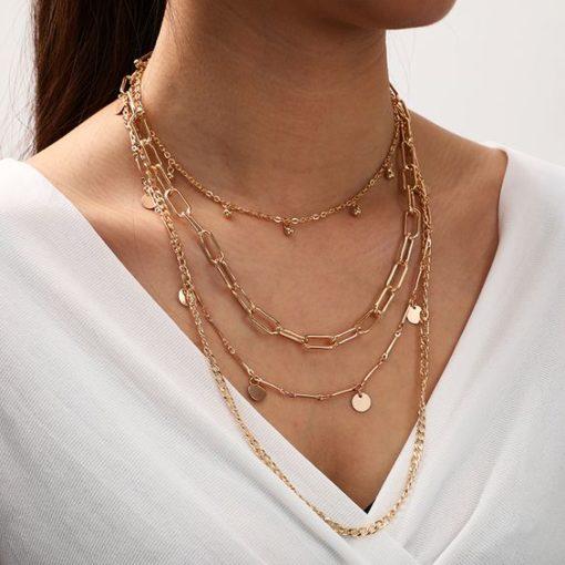 collier multirangs dore tendance