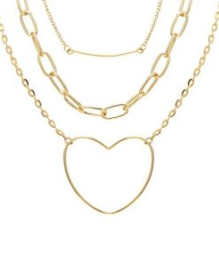 collier triple rangs dore