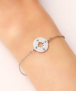 bracelet boussole argente