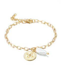 bracelet medaille perle