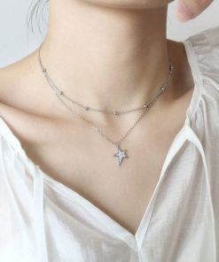 collier double rang argent