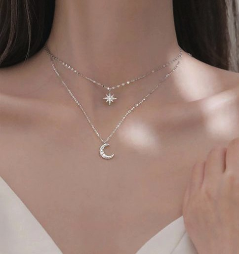 collier multirangs argent femme