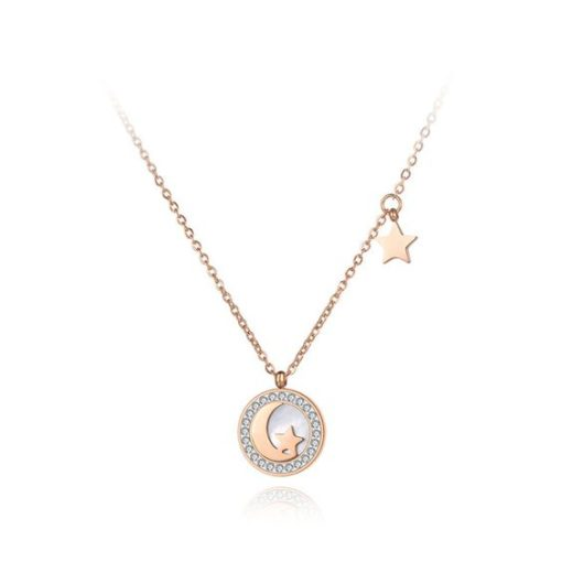 collier lune or rose