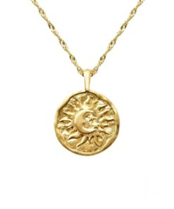 collier medaille lune or